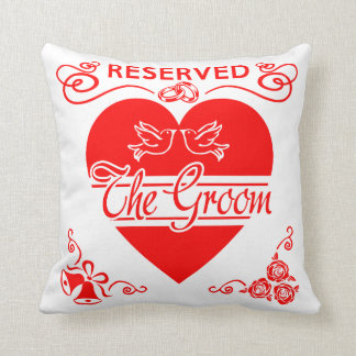 Groom's Wedding Cushion. Reserved for the Groom. Throw Pillow