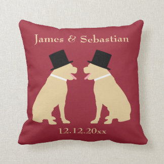 Grooms Yellow Labradors Personalized Gay Wedding Throw Pillow