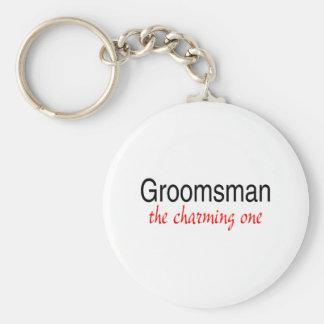 Groomsman avec du charme porte-clé rond