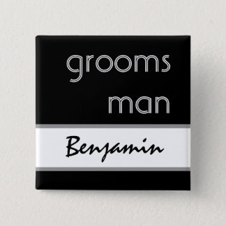 Groomsman - Black and White Modern Wedding Button