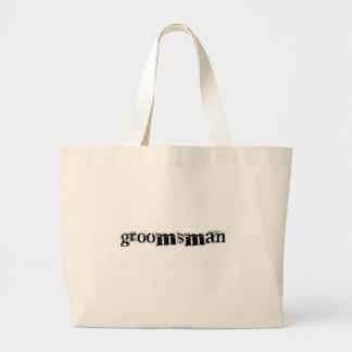 Groomsman Black Text Tote Bags
