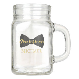 Groomsman Bow Tie Personalized Mason Jar Favor