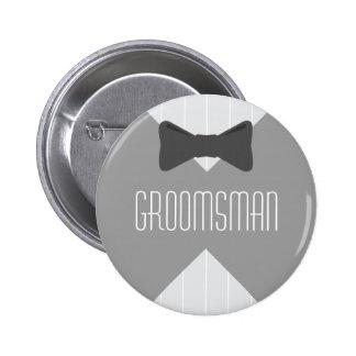 Groomsman Bowtie & Stripes 2 Inch Round Button