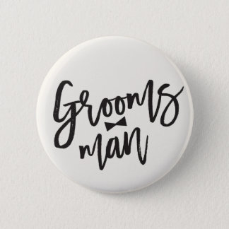 Groomsman Brush Bow Tie Wedding Party Button