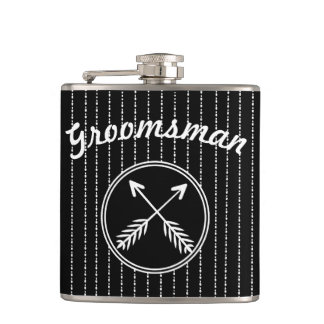 Groomsman Crossed Arrows Any Custom Color Flask