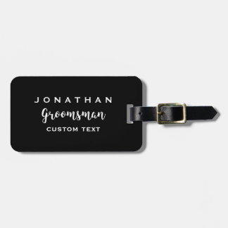 Groomsman Custom Wedding Favor Modern Monogram Luggage Tag