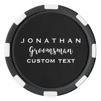 Groomsman Custom Wedding Favor Modern Monogram Poker Chip Set