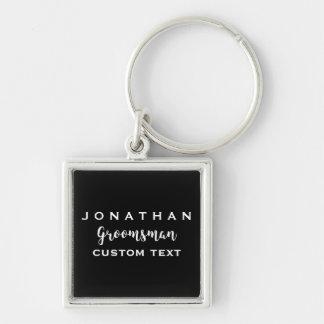 Groomsman Custom Wedding Favor Modern Monogram Silver-Colored Square Keychain