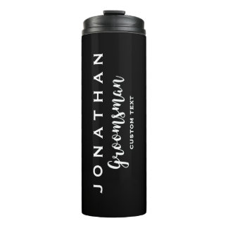 Groomsman Custom Wedding Favor Modern Monogram Thermal Tumbler