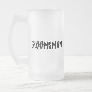 Groomsman Frosted Glass Beer Mug