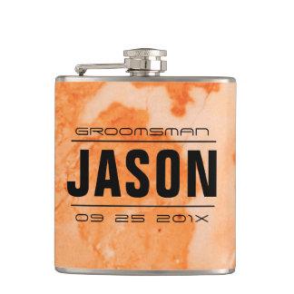 Groomsman Gifts-Rose-Gold Marble Hip Flask
