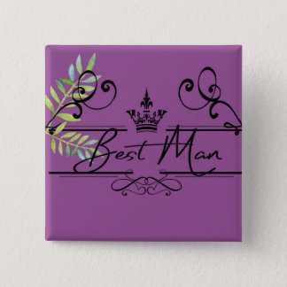 groomsman in plum 2 inch square button