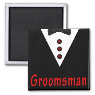 Groomsman In Tux Square Magnet