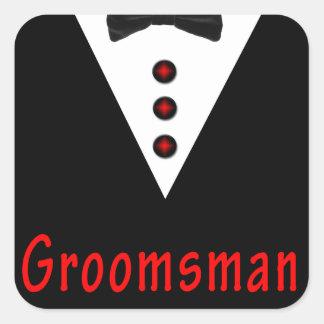 Groomsman In Tux Square Sticker