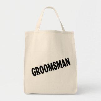 Groomsman Slanted Black Grocery Tote Bag