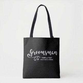 Groomsman Tote Bag-Cool Black White Modern Script