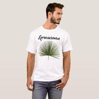 Groomsman Tropical Palm Frond Leaf Wedding T-Shirt