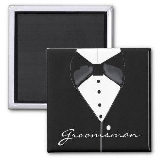 Groomsman Wedding Tuxedo Square Magnet