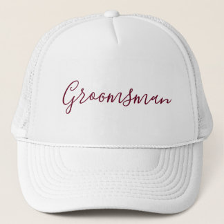 Groomsman White with Burgundy font Trucker Hat
