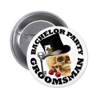 Groomsmans Gothic gambling skull bachelor party 2 Inch Round Button