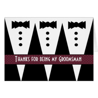 GROOMSMEN Thank You - Three Tuxedos - Customizable Card