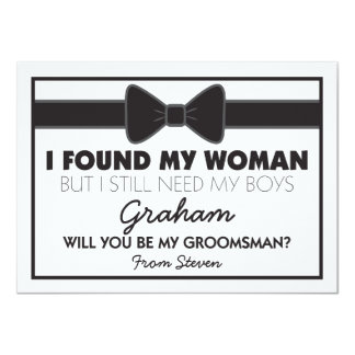 "Groomsmen Wedding Bow Tie 4.5"" X 6.25"" Invitation Card"