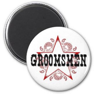 Groomsmen Western Red Magnet