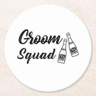 Groomsmen with Wine Bottle Wedding Gift Round Paper Coaster