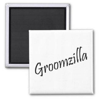 Groomzilla (Blk) Square Magnet