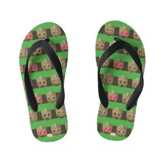 Groot Emoji Stripe Pattern Kid's Flip Flops