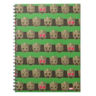 Groot Emoji Stripe Pattern Notebooks