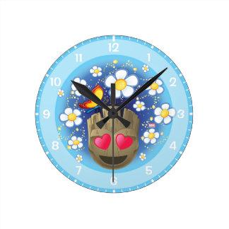 Groot In Love Emoji Round Clock