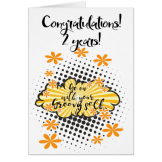 Groovy 2 year clean 12 step anniversary Card