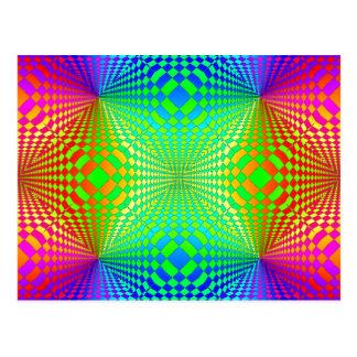 Groovy 3-D Retro Pattern Postcard