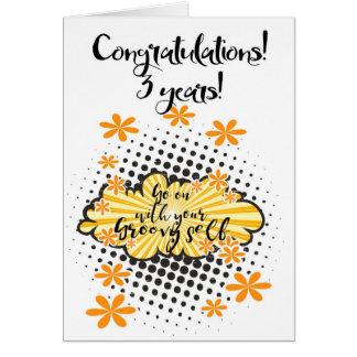 Groovy 3 year clean 12 step anniversary Card