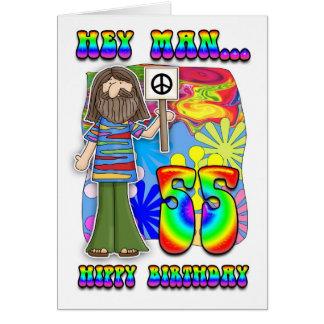 Groovy 55th Birthday - Hippy Birthday Greeting Card