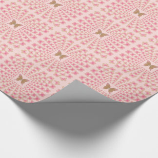 Groovy 60's Peace Butterfly Perspective on pink Wrapping Paper