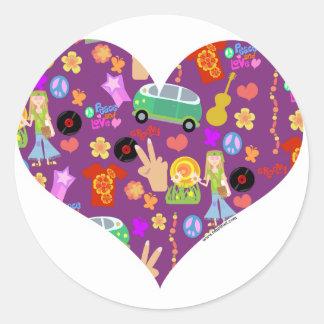 Groovy 60's Purple Love Round Stickers