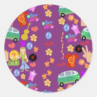 Groovy 60's Purple Pattern Round Stickers