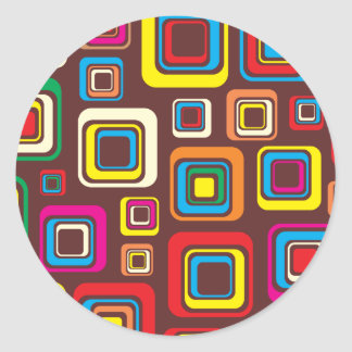 Groovy 70s Tile Pattern Squares On Brown Classic Round Sticker