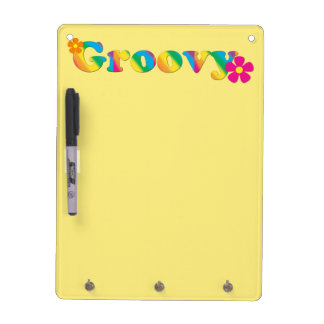 Groovy and Flowers Bright Colors 60s Hippie Design Dry Erase Board
