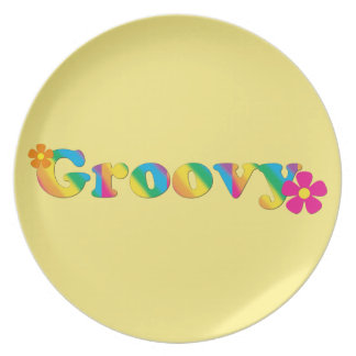 Groovy and Flowers Bright Colors 60s Hippie Design Plates