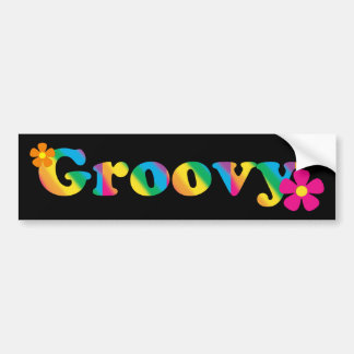 Groovy and Flowers Bright Colours 60s Hippie Bumper Sticker