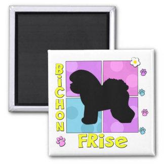 Groovy Bichon Frise Square Magnet