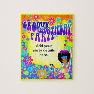Groovy Birthday Puzzle Invitation