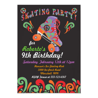 Groovy Black Roller Skating Party Invitations