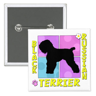 Groovy Black Russian Terrier 2 Inch Square Button