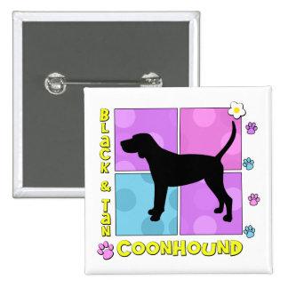 Groovy Black Tan Coonhound Pins