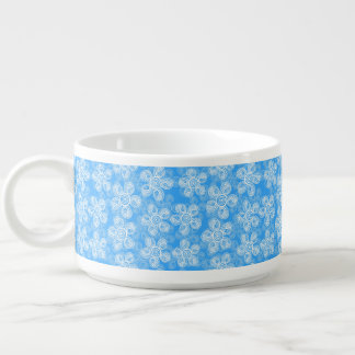 Groovy Blue Flowers Design Chili Bowl