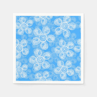 Groovy Blue Flowers Design Disposable Napkin